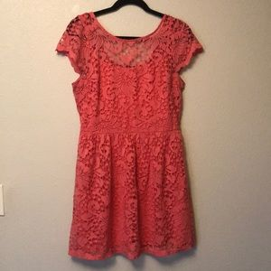 Coral Cutout Style Dress Large